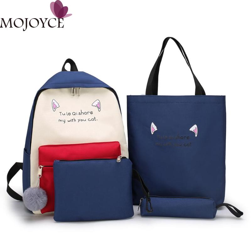 Teen Girls Fashion Casual 4pcs/set Female Canvas Composite Bags Women Travel Backpacks School Shopping Shoulder Packs Clutch