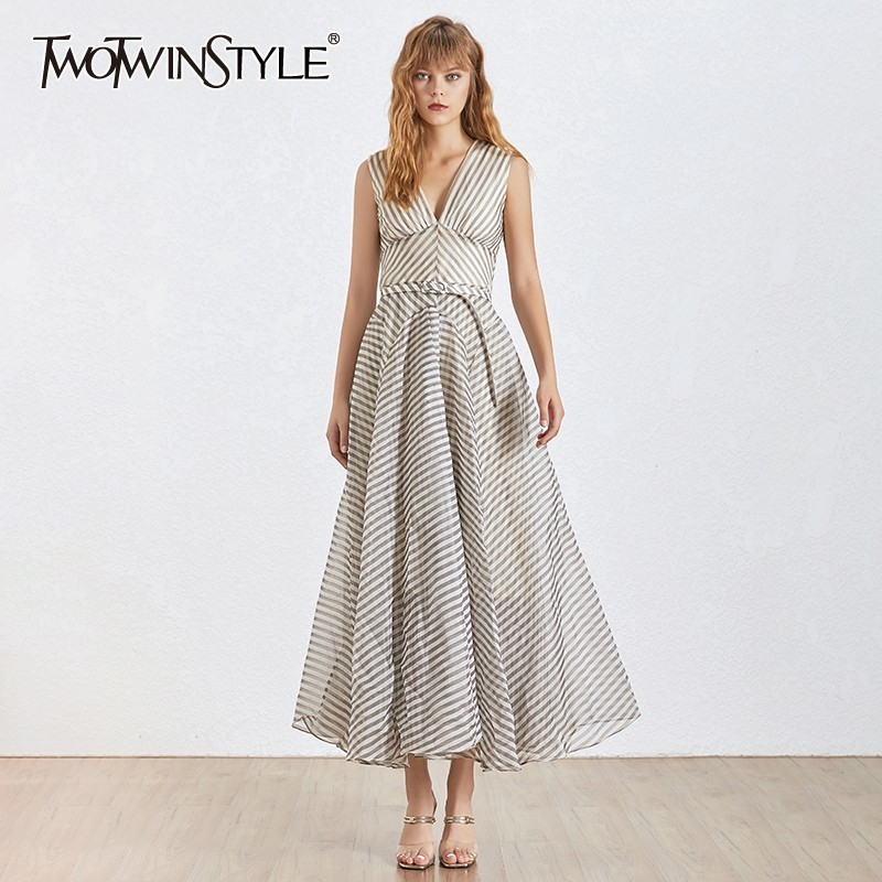 TWOTWINSTYLE Elegant Striped Maxi Dress TDR20685