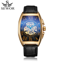 SEWOR Top Brand Fashion Automatic Self Wind Watch Skull Design Luxury Men Watches Leather Mechanical Watch Montre Homme Clock