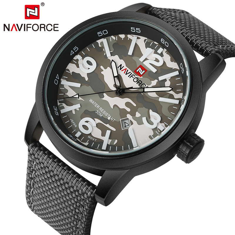 2017 New Luxury Brand NAVIFORCE Men Army Military Watches Men's Quartz Clock Male Fashion Sports Wrist Watch Relogio Masculino luxury brand naviforce men sport watches waterproof led quartz clock male fashion leather military wrist watch relogio masculino