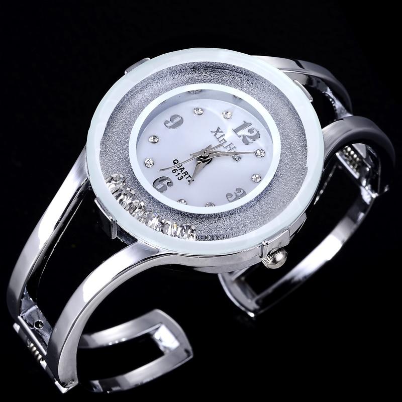 Luxury Women Bangle Watches Quartz Fashion Bracelet Watch Crystal Stainless Steel Brand Xinhua Casual Clock Wristwatch Relojes