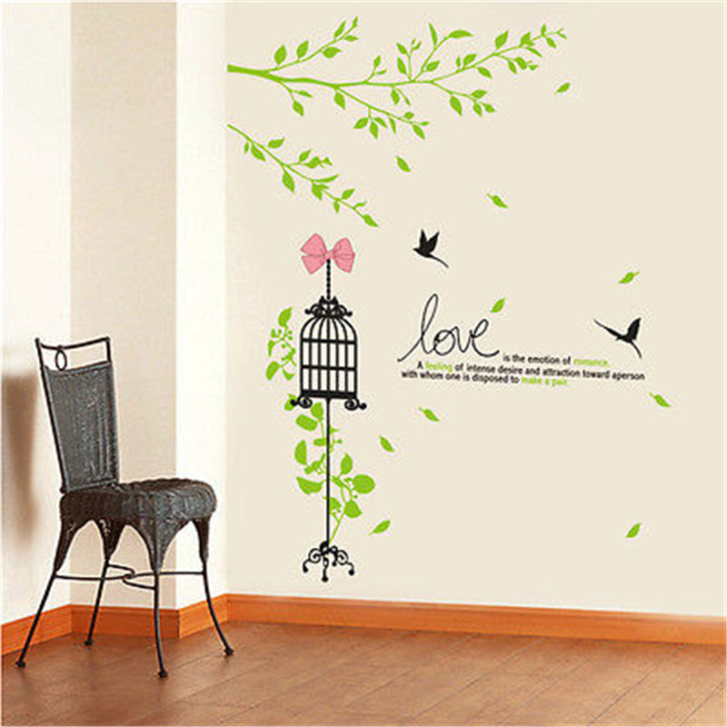 Brand 2017 Wall stickers for Kids rooms Green Tree Birds Cage Vinyl Wall Sticker Decals Love Quote Mural Home Decor Poster DIY