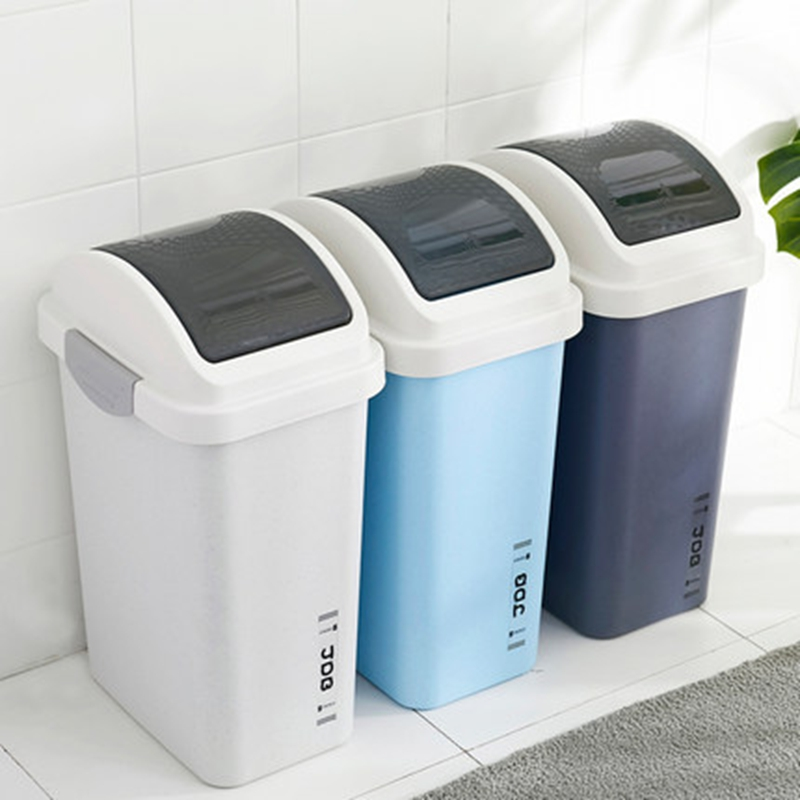 European Style Shake Cover Rectangular Trash Can Bathroom ...