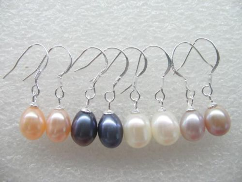 Hot sell Noble ry00358 AAA wholesale Lots 20 pairs 7 8mm freshwater pearl earrings 925 silver A0422