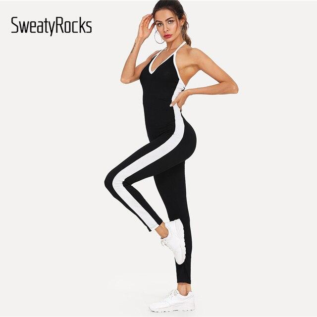SweatyRocks Black Halter Cami Jumpsuit Spaghetti Strap Halter Backless Active Wear Jumpsuit 2018 Summer Women Skinny Jumpsuit