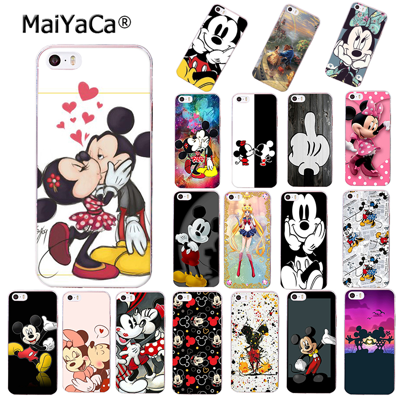 Beauty Beast Bishoujo Kissing Mickey Minnie Mouse Phone Case For Apple Iphone 8 Plus X XS MAX XR 5S 5C 6S Plus 7 Cover