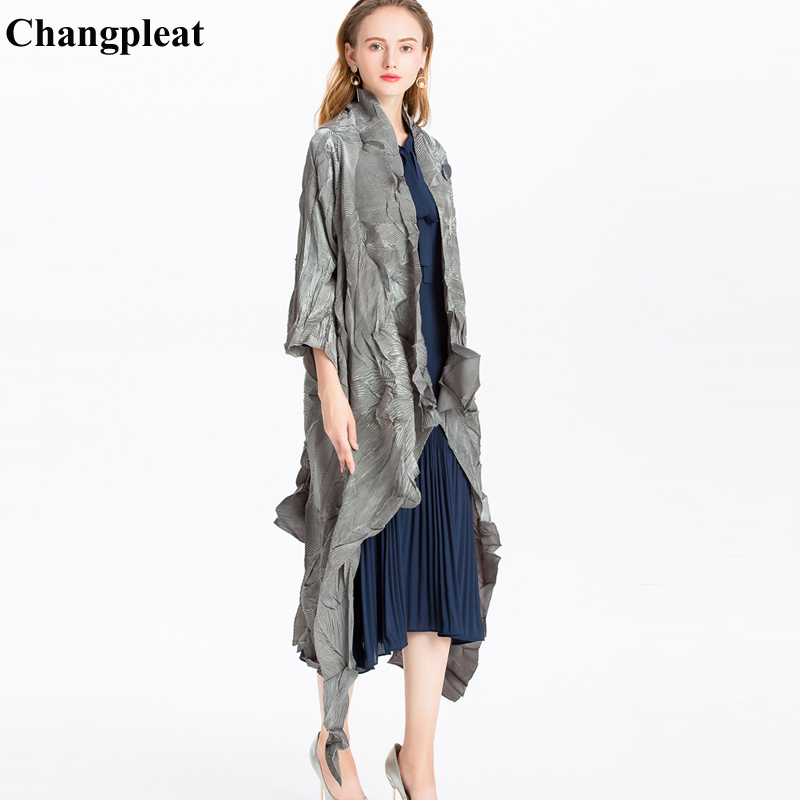 Changpleat 2019Spring New irregular Women   Trench   Miyak Pleated Fashion Design Elastic Solid Large Size Female long Coat Cardigan