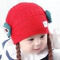 Envío rápido de la Alta Calidad Nuevo 2016 de Corea Del Encantador Lindo de Los Niños Sombrero del bebé Larga Peluca Sombrero Hecho Punto Niño Tapas Otoño e invierno bajo precio