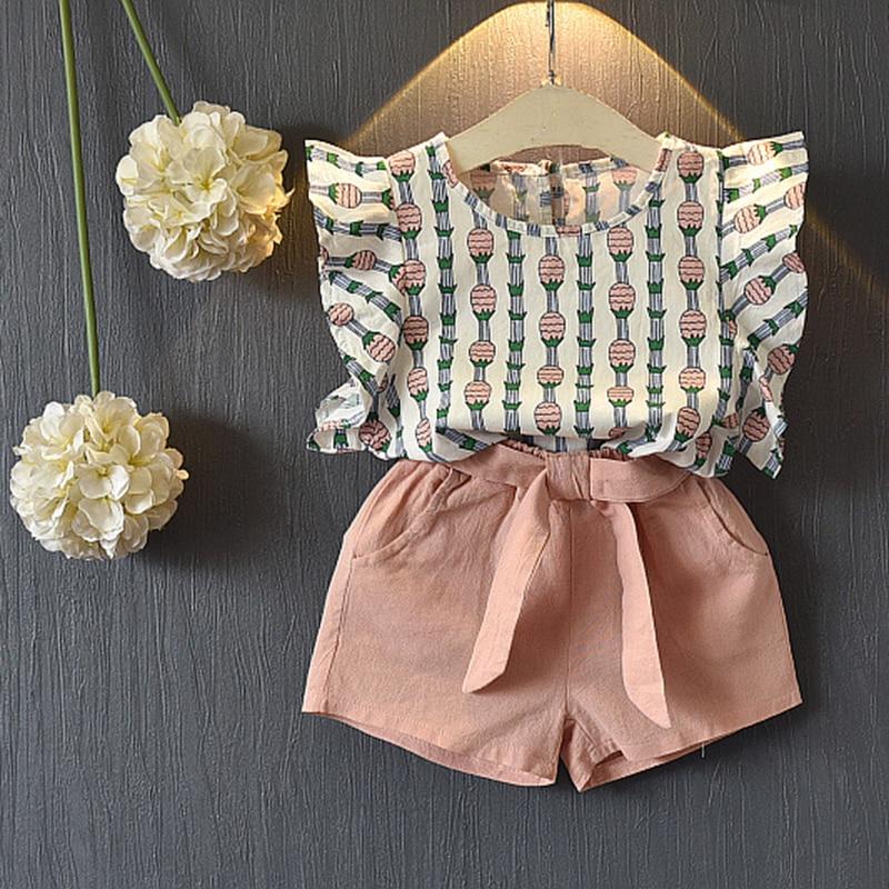 Костюмы для девочек 2018 Детская одежда Мода Дети Комплекты одежды для девочек Летняя футболка с короткими рукавами + платье-брюки 2шт. Костюмы для одежды