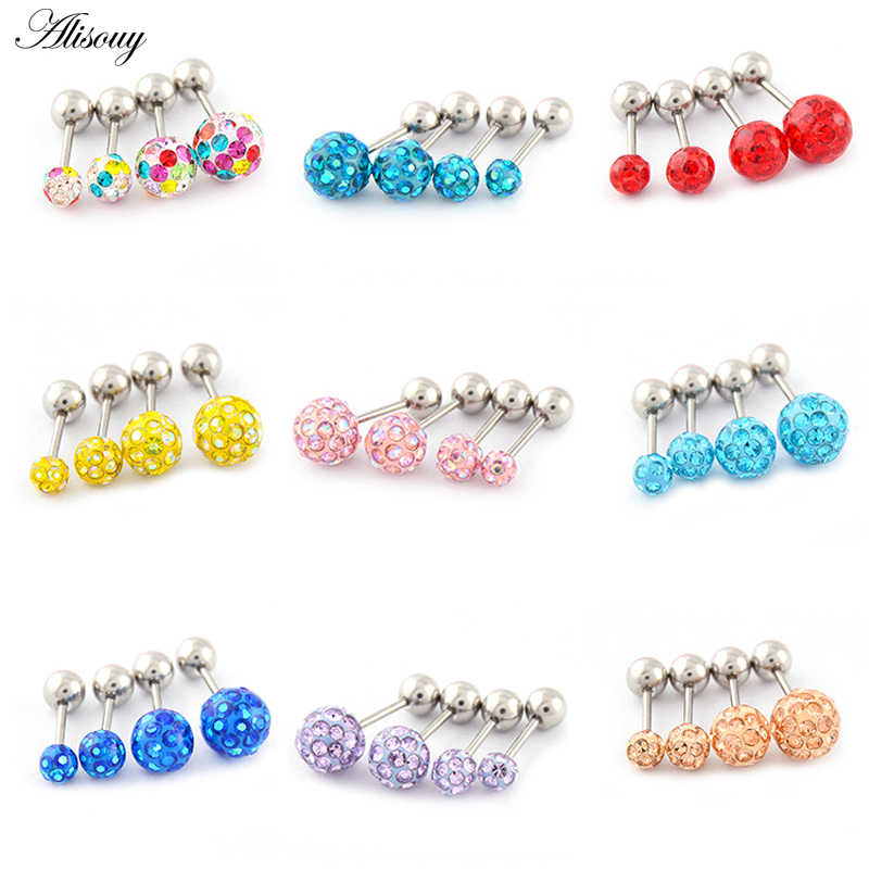Alisouy 2pcs/lot 3/4/5/6mm 316L Stainless Steel Epoxy Crystal Threaded Ball Body Piercing Jewelry 20GLip Labret Eyebrow Ear Ring