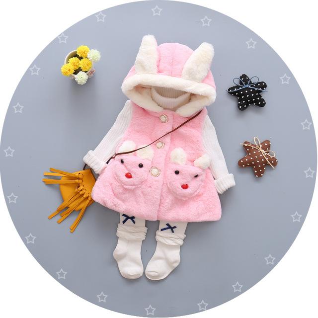 Varejo! o Envio gratuito de Roupas Da Princesa Meninas Criança Camisola Com Capuz Exterior Cat Colete de Algodão Espessamento Colete de Algodão Do Bebê