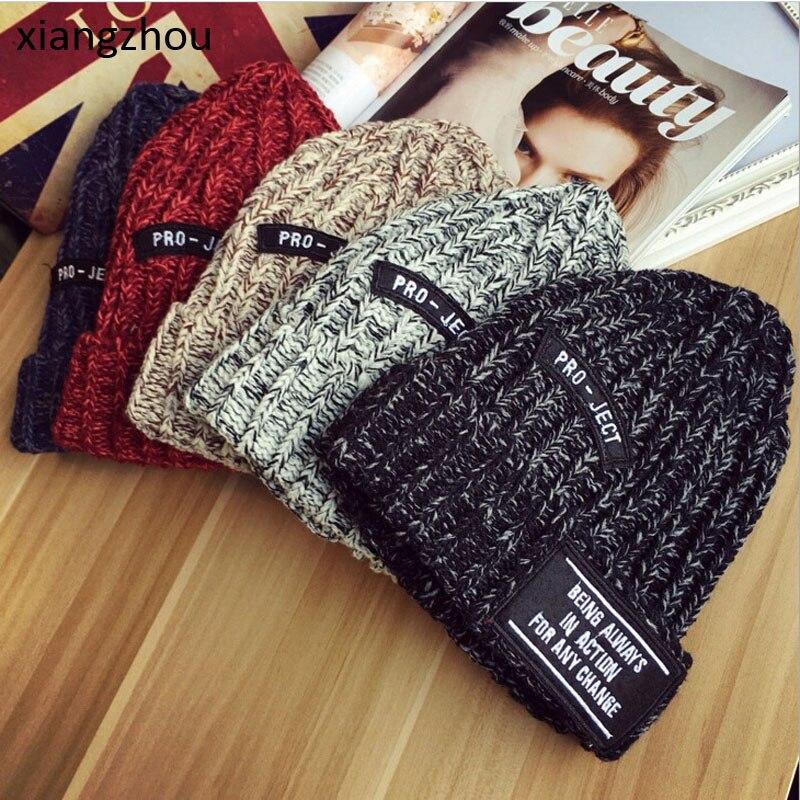 2017 Red Female Winter Hats Cap Women Hat Fashion Knitting Letter RO JECT Warm Cap Wool Hat Leisure Skullies Beanies