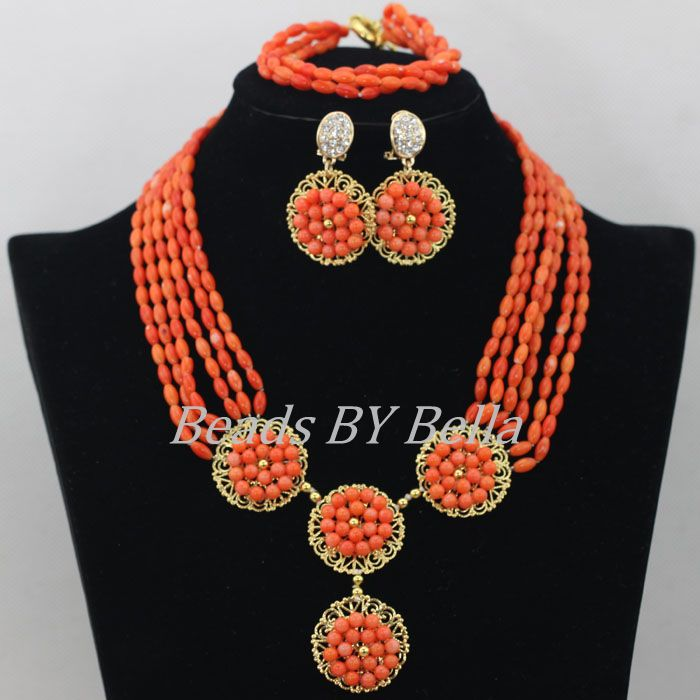 Nigerian Wedding African Beads Jewelry Set Coral Jewelry Orange Beads Dubai Real Coral Necklace Jewelry Set Free Shipping ABF309 marvelous orange african coral beads jewelry set nigerian wedding african beads necklace set 2016 new free shipping cj461