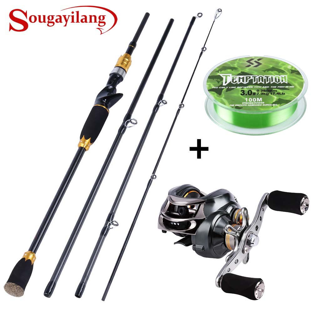 Sougayilang Portable Carbon Fiber 4 Section Lure Fishing Rod and Baitcasting Reel with 100M Fishing Line KitSougayilang Portable Carbon Fiber 4 Section Lure Fishing Rod and Baitcasting Reel with 100M Fishing Line Kit