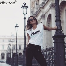 NiceMix Brand New Summer Women T-shirt Printed Letters PARIS T Shirts O-Neck Short Sleeve Loose Cotton Tee Shirt Femme 65006