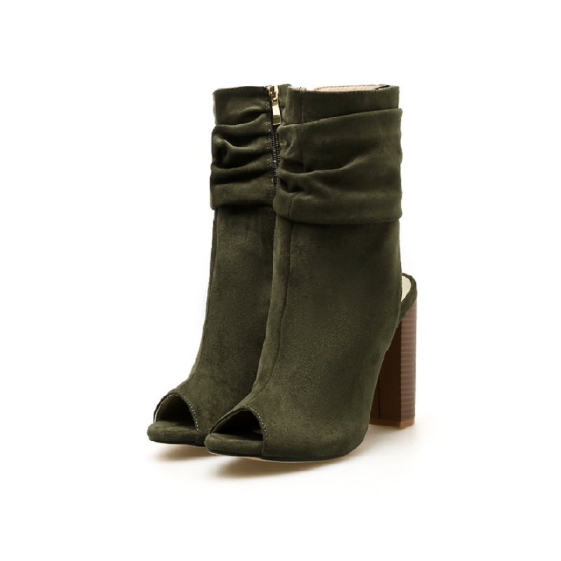 2018 autumn and winter new high-heeled fashion suede fish mouth trade models with thick womens boots green ljj 01172018 autumn and winter new high-heeled fashion suede fish mouth trade models with thick womens boots green ljj 0117