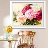 2017 Best Selling Home Decoration DIY 5D Diamond Painting Peony Cross Stitch Round Diamonds Handicrafts