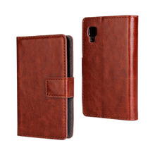Luxury Crazy Horse Pattern Flip Leather Case For LG Optimus L4 II Phone Bag For LG E440 E445 E470 Wallet Stand Cover Card Slot
