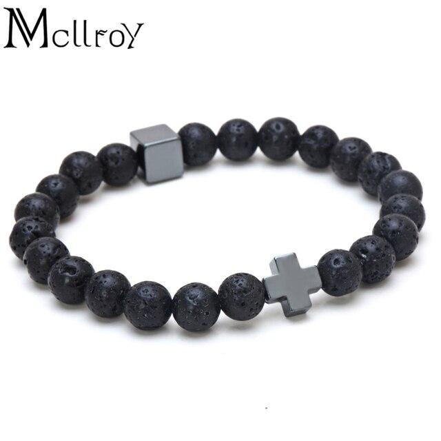 Bracelet perle croix homme