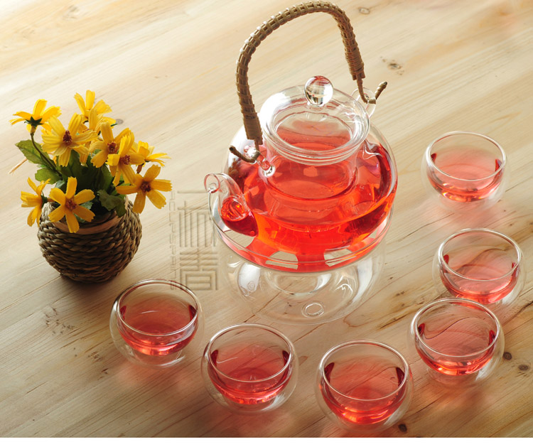 Rattan handle 800ml Glass teapot with infuser/filter+ 4/6 Double-wall Glass Cups, Warmer,candle,coffee set for Chinese/puer tea