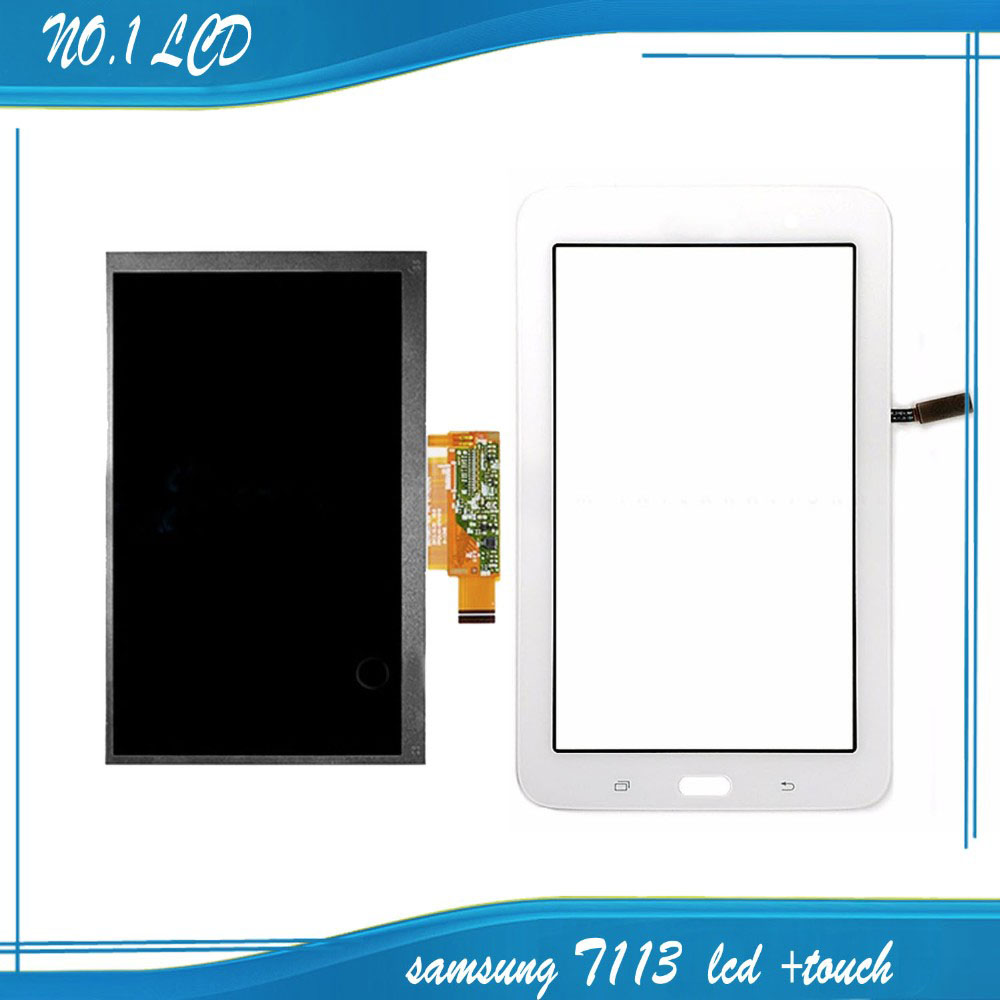 ФОТО for Samsung Galaxy Tab 3 Lite T113 LCD Display Panel Monitor + White Touch Screen Digitizer Glass Sensor Replacement