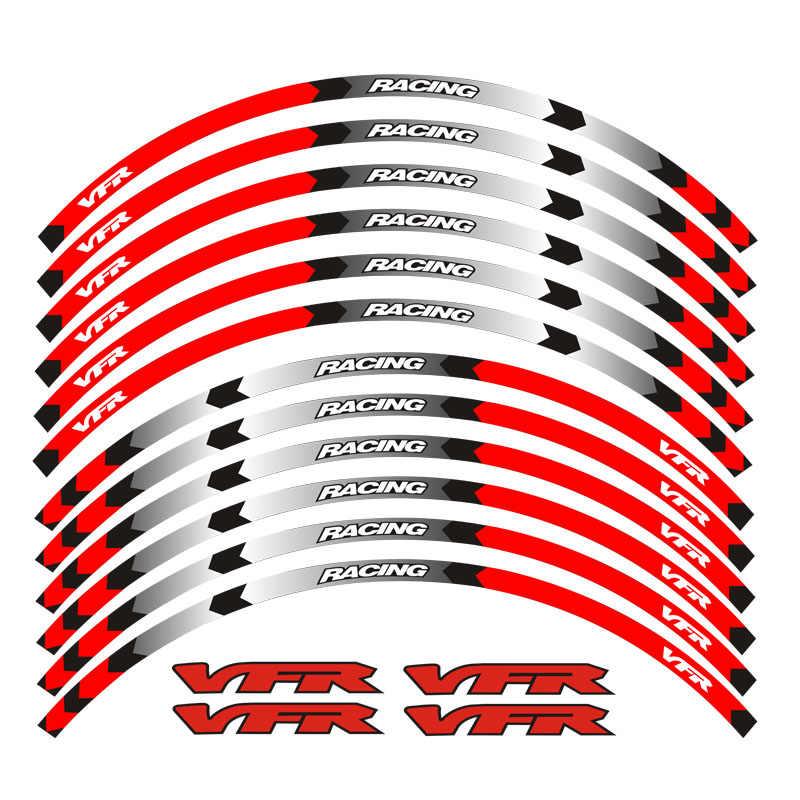 新しい高品質 12 個フィットオートバイホイールステッカーストライプ反射リムホンダ vfr VFR750 VFR800 VFR1200 VFR1200F