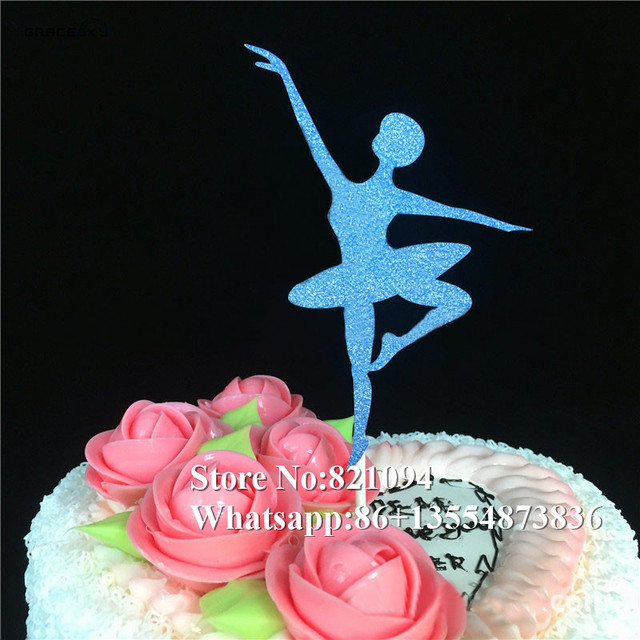 20pcs Free Shipping Glitter Paper Ballet Dancer Birthday Cake