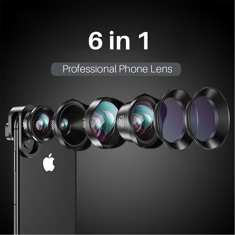 6 em 1 CPL Estrela 3X 20X Lentes Macro Lente Do Telefone Lente Olho de peixe Grande Angular Telefoto para iPhone Xs Max X 8 Huawei Piexl 2 7 Samsung