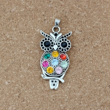 Colorful Crystal Owl Alloy Antique silver charm Pendants Jewelry DIY Fit Pendant Necklace 23.8x54.5mm 3Pcs/lot A-485
