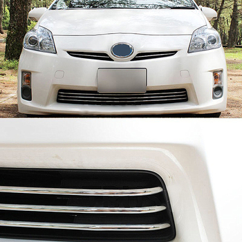 JY SUS304 Stainless Steel Front Bumper Grill Molding Garnish Trim Cover Car Accessories For PRIUS 30 2010-2011 stainless steel side car door body molding cover trim line garnish protector for volkswagen vw tiguan accessories 2010 2017