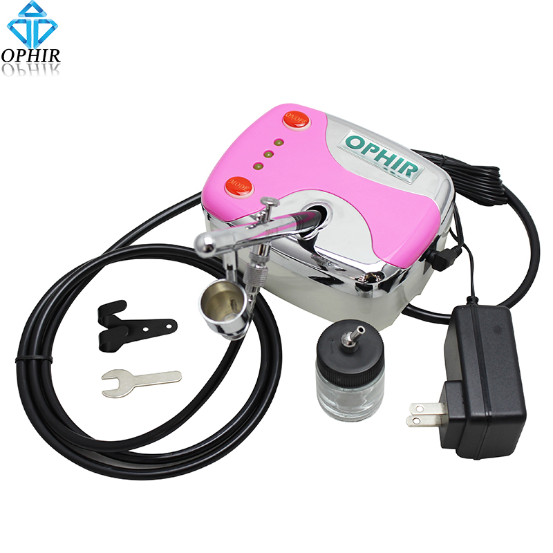 OPHIR Portable 0.2 mm Dual-Action Airbrush Kit With Mini Compressor for Cake Nail Art Makeup Face Paint Body Tattoo_AC002+AC072 ophir 0 3mm dual action airbrush kit with air compressor cake airbrush kit nail art paint mahine makeup tools ac003h ac005 ac011