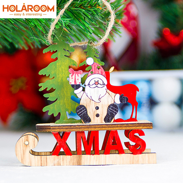1pcs christmas sleigh pendant santa snowman xmas tree wooden pendant christmas decorations for home navidad new