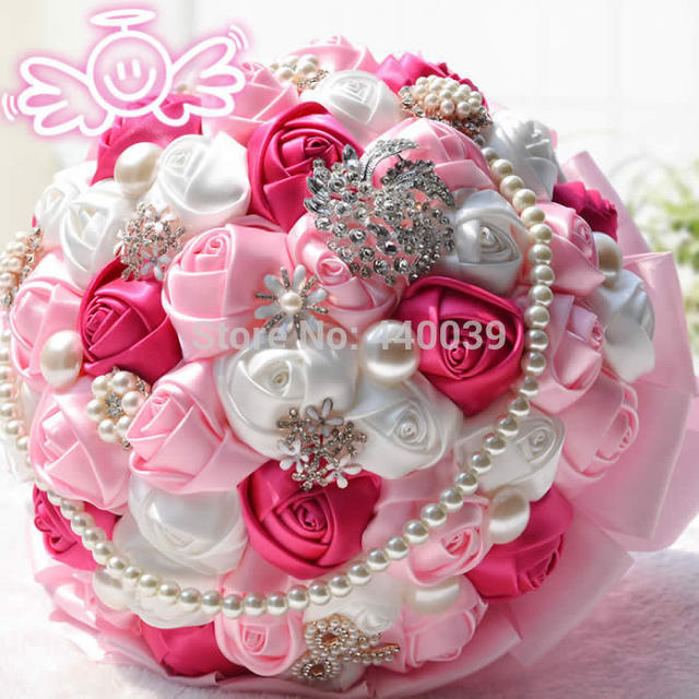 2016 Pretty Artificial Roses Bouquet  Pearls Wedding bouquets Crystal Pink Bride Wedding Flowers bridal Wedding Bouquet FW101