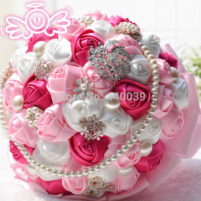 Pretty Artificial Roses Bouquet Pearls Wedding Bouquets Crystal Pink Bride Flowers Bridal FW101 In From Weddings