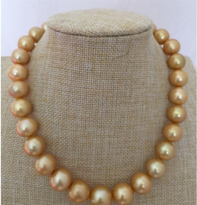 GORGEOUS HUGE 11-12MM SOUTH SEA ROUND GOLD PEARL NECKLACE 18INCH GORGEOUS HUGE 11-12MM SOUTH SEA ROUND GOLD PEARL NECKLACE 18INCH