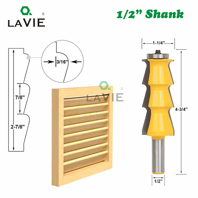 """LAVIE 1pc 12mm 1/2"""" Shank Louver Shutter Style Router Bit Louvre Milling Cutter for Wood Door Knife Woodworking Tools MC03049"""