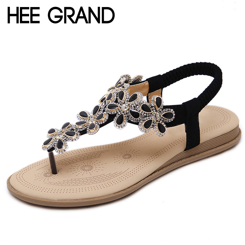 HEE GRAND Bohemia Flip Flops 2017 Casual Gladiator Sandals Slip On Flats Bling Platform Flats Shoes Woman Size 35-41 XWZ3652 phyanic crystal shoes woman 2017 bling gladiator sandals casual creepers slip on flats beach platform women shoes phy4041