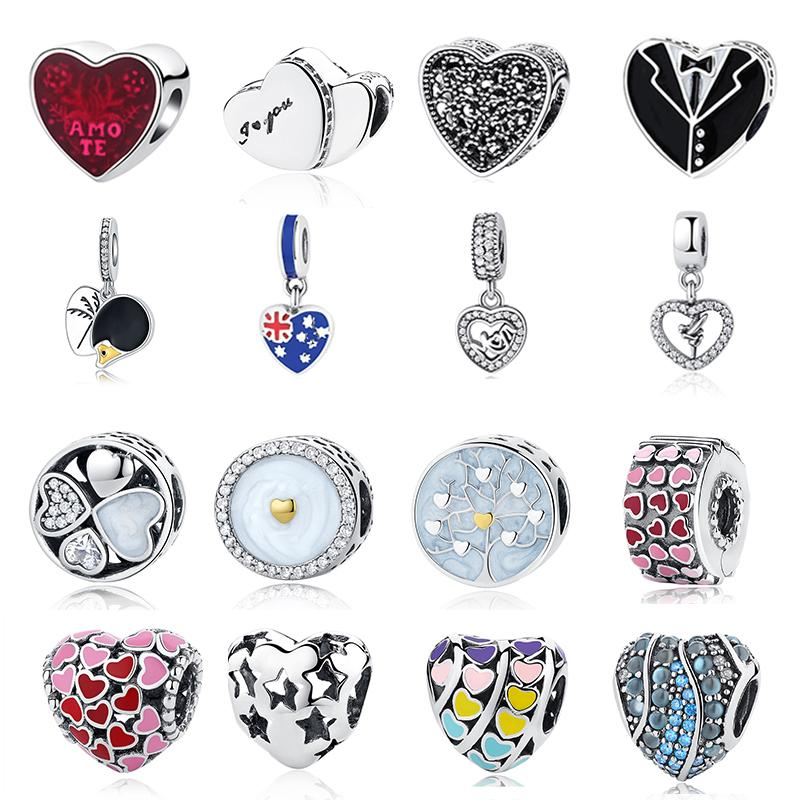 2018 Summer Authentic 925 Sterling Silver Mom Love Heart Charm Beads Fit Pandora Charm Bracelet Original Silver Jewelry
