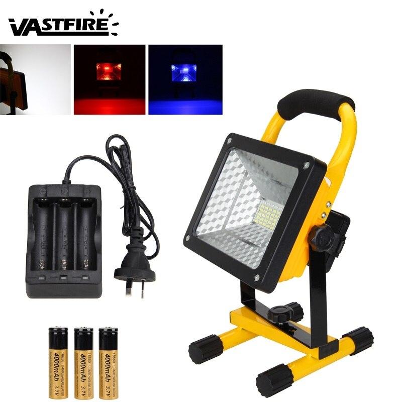 3000 Lumen 3 couleur Portable 50 W RGB 36 LED lumière d'inondation 120 degrés Spot travail Camping lampe 3X18650 batterie + chargeur