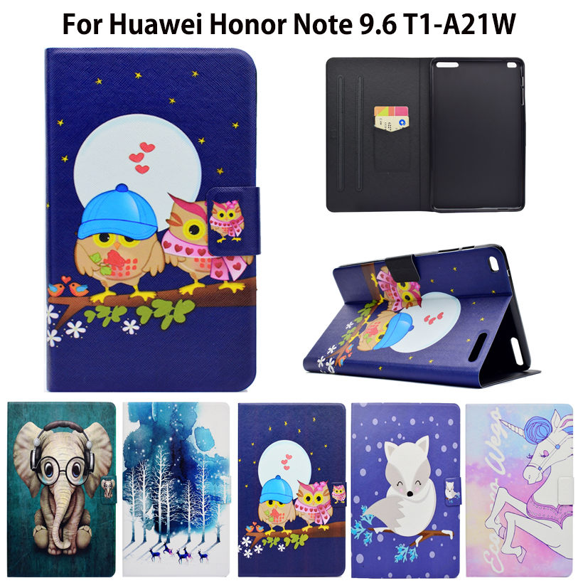For Huawei Mediapad T1 10 Flip Leather Case For Huawei Honor Note 9.6 T1-A21W T1 10 T1-A21L T1-A23W/L Cover Painted Tablet Funda tablet case for huawei mediapad t1 10 lte case cover couqe hulle funda shell custodie