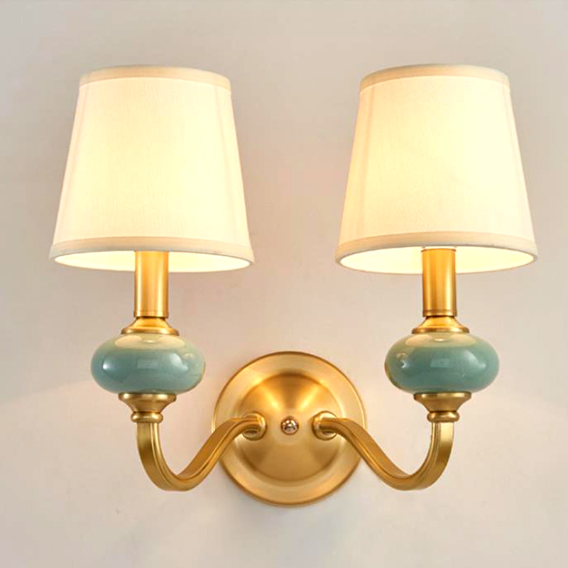 American Copper&Ceramic wall lamps bedside bedroom 1/2 heads white Cloth Cover Brass Aisle Wall  LightAmerican Copper&Ceramic wall lamps bedside bedroom 1/2 heads white Cloth Cover Brass Aisle Wall  Light