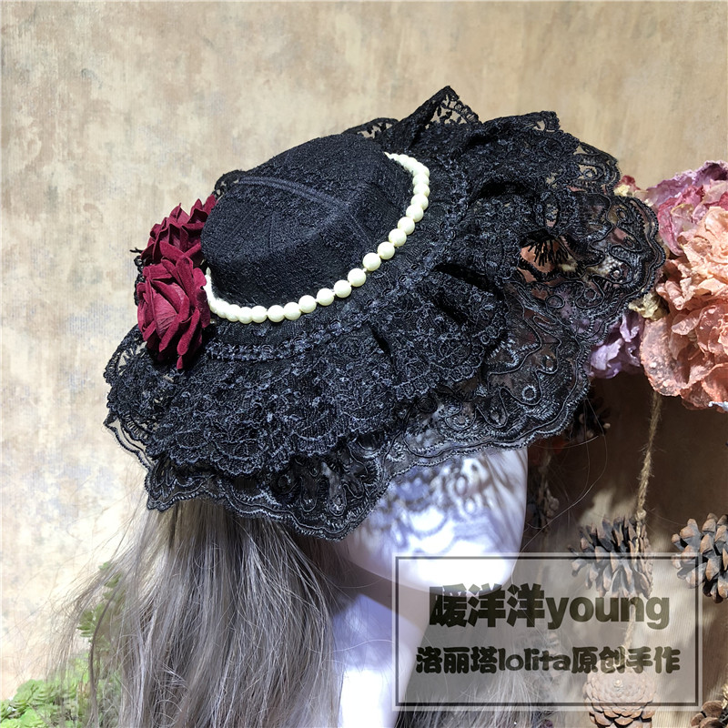 Women s Gothic Lolita Cosplay Red Rose Pearl Design Black Victorian Top Hat Handmade Punk Vintage