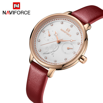NAVIFORCE 5003 Women's Quartz Watches Fashion Leather Wrist Watch Women Simple Waterproof Watches Ladies Watch Clock with box