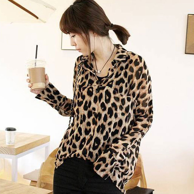 Nova 2017 Mulheres Chiffon Sexy Leopard Print Top Camisa de Botão Blusa S-XL plus size dama da moda