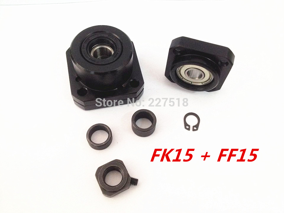 FK15 FF15 Support for Ball Screw 2005 set :1 pc FK15 Fixed Side +1 pc FF15 Floated Side for XYZ CNC parts 4 in 1 fk15 ff15 fixed floated side circlip ballscrew end supports set