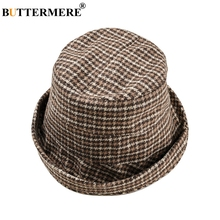 BUTTERMERE Plaid Womens Bucket Hats Coffee Cotton Fishing Hat Female Elegant Houndstooth Summer Ladies Fisherman Hats And Caps