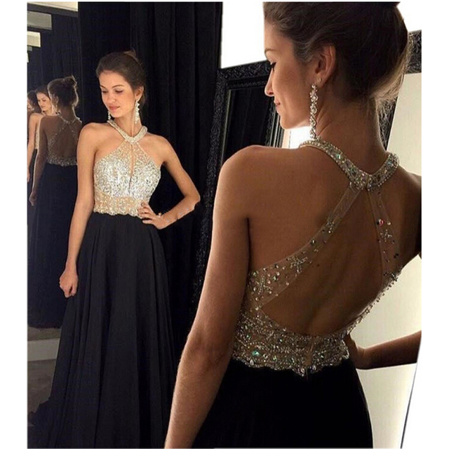 050fdd98f41 Sexy Black Prom Dress 2016 Long Halter Beaded Backless vestidos de fiesta Formal  Evening Dresses Maxi Womens Formal Pageant Gown