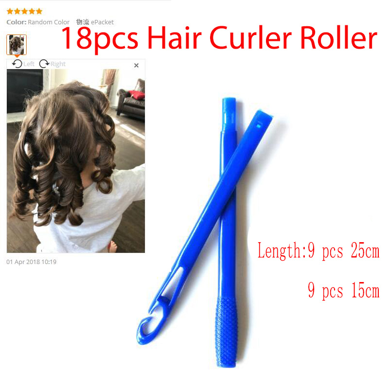MAGIC ROLLERS 18 Pcs/Set 25cm/15cm Long Hair Rollers Curler Magic Roller Curlers Spiral Curls Styling Kit