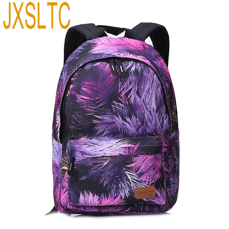 JXSLTC Fashion Canvas Bags Retro Casual Teen School Bags Printing Backpack For Women Backpacks Female child Gaming laptops Bag