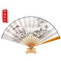 Chinese characteristics Rice paper Hand painted fan Men Folding fan 10 inch skeleton foreign affairs Going abroad Gift fan